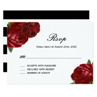 Rosas vermelhas antigas românticas com os cartões convite 8.89 x 12.7cm