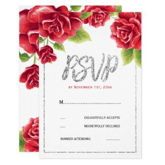 Rosas vermelhas & brilho da prata que Wedding RSVP Convite 8.89 X 12.7cm