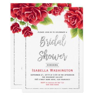 Rosas vermelhas & chá de panela do brilho da prata convite 12.7 x 17.78cm