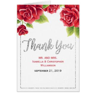 Rosas vermelhas da aguarela & obrigado do brilho cartão de nota
