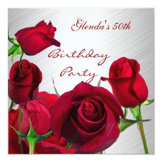 Rosas vermelhas da festa de aniversário do convite