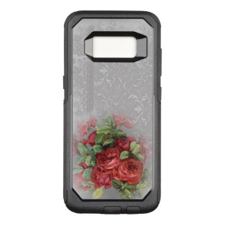 Rosas vermelhas do vintage na caixa cinzenta da capa OtterBox commuter para samsung galaxy s8
