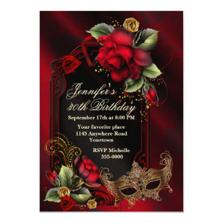 Rosas vermelhas e aniversário do adulto da máscara convite 12.7 x 17.78cm