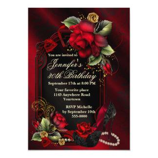 Rosas vermelhas e aniversário preto do adulto dos convite 12.7 x 17.78cm