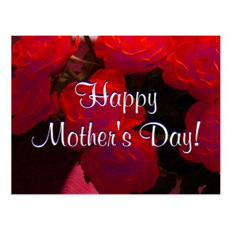 Rosas vermelhas felizes do dia das mães mim cartão postal