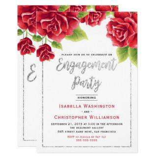 Rosas vermelhas & festa de noivado do brilho da convite 12.7 x 17.78cm