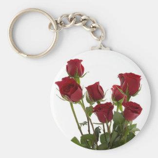Rosas vermelhas longas da haste chaveiro