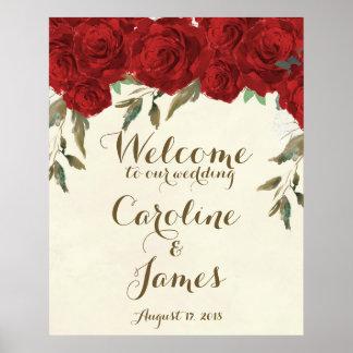 Rosas vermelhas que wedding o poster do sinal da