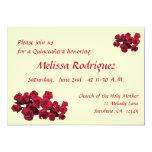 Rosas vermelhas Quinceanera Convite 12.7 X 17.78cm