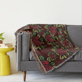 Rosas vermelhas retros gerais do abstrato da arte throw blanket