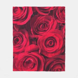Rosas vermelhas ricas cobertor de lã