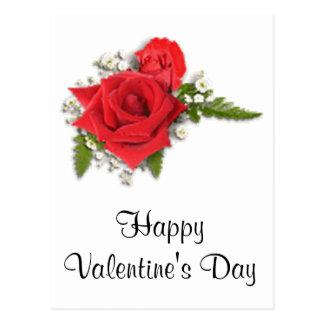 Rosas vermelhas românticas do dia dos namorados cartão postal
