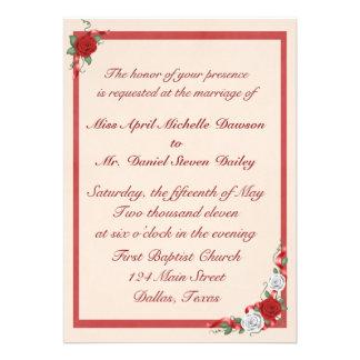 Rosas vermelhos & brancos que Wedding convites