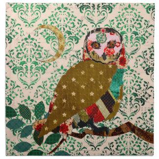 Rose Owl Green  Damask  American MoJo Napkin