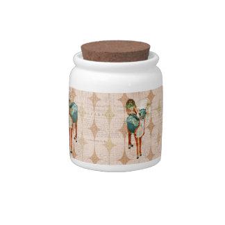 Rose Owls & Azure Deer Retro Orange Moonlight Cook Candy Jar
