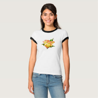 Rosebud bonito colorido pêssego camiseta