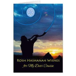 Rosh Hashanah para o primo, o chifre do Shofar e o Cartão Comemorativo