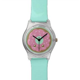 Rosquinha cor-de-rosa bonito relógio de pulso