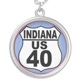 Rota 30 de Indiana E.U. - a estrada de Lincoln Colar Com Pendente Redondo