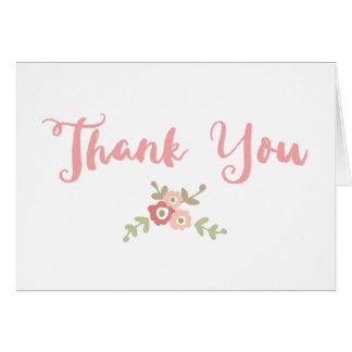 Roteiro coral e cartões de agradecimentos florais