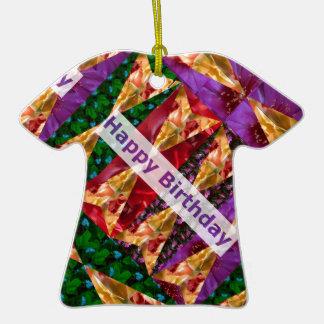 Roteiro do feliz aniversario: Arte dourada da flor Ornamento De Cerâmica Camiseta
