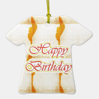 Roteiro do feliz aniversario: Cristal puro do Ornamento De Cerâmica Camiseta