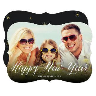 Roteiro do feliz ano novo e cartão com fotos do