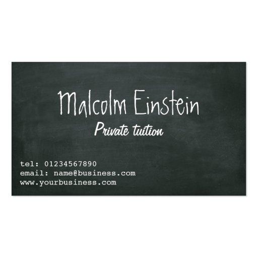 Roteiro do quadro-negro do tutor privado modelo cartao de visita