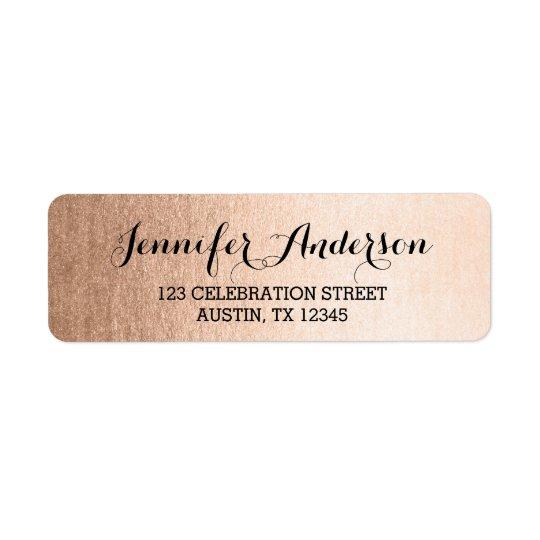 Roteiro elegante do ouro cor-de-rosa do falso etiqueta endereço de retorno