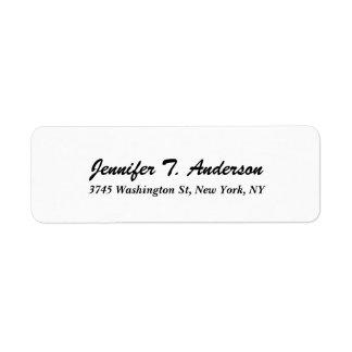 Roteiro elegante profissional moderno branco na etiqueta endereço de retorno
