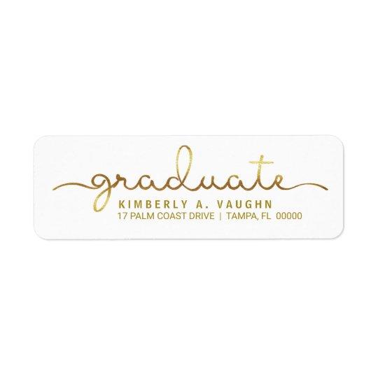 Roteiro escrito à mão do olhar da folha de ouro da etiqueta endereço de retorno