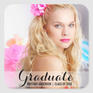 Roteiro moderno da etiqueta da foto da graduação