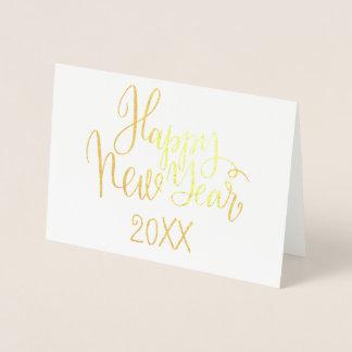 Roteiro moderno simples da caligrafia do feliz ano cartão metalizado