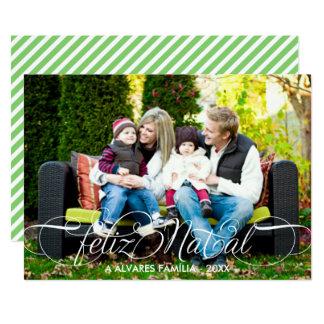Roteiro natal de Cartão Feliz Foto   Branco Fonte Convite 12.7 X 17.78cm