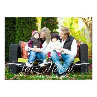 Roteiro natal de Cartão Feliz Foto | Branco Fonte Convite 12.7 X 17.78cm