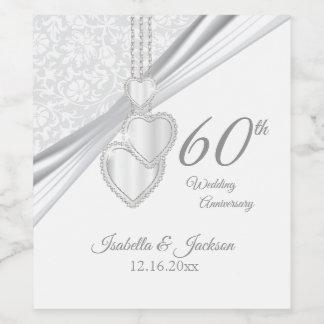 Rótulo De Garrafa De Cerveja 60th Aniversário de casamento do diamante