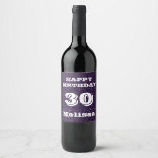 Rótulo De Garrafa De Cerveja Aniversário de 30 anos roxo do brilho