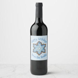 Rótulo De Garrafa De Cerveja Boas festas floco de neve do azul de Hanukkah do