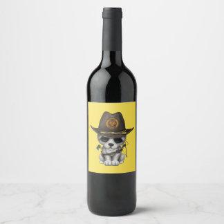 Rótulo De Garrafa De Cerveja Caçador bonito do zombi de Cub de lobo