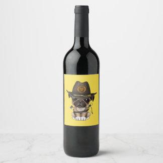 Rótulo De Garrafa De Cerveja Caçador bonito do zombi do filhote de cachorro do