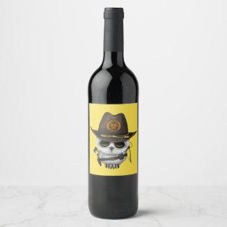 Rótulo De Garrafa De Cerveja Caçador do zombi da coruja do bebê