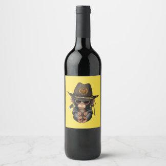 Rótulo De Garrafa De Cerveja Caçador do zombi do chimpanzé do bebê