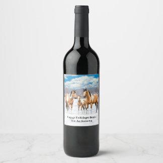 Rótulo De Garrafa De Cerveja Cavalos da pintura do Buckskin na neve