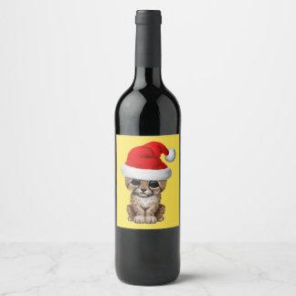 Rótulo De Garrafa De Cerveja Chita bonito Cub que veste um chapéu do papai noel