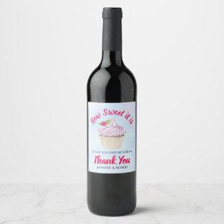 Rótulo De Garrafa De Cerveja Como doce é obrigado cor-de-rosa do casamento do