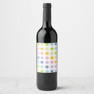Rótulo De Garrafa De Cerveja Diamantes Pastel do arco-íris