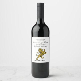 Rótulo De Garrafa De Cerveja Emblema ereto C da crista do leão heráldico