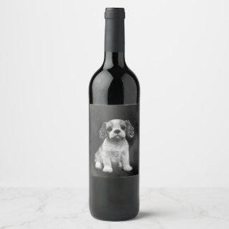 Rótulo De Garrafa De Cerveja Filhote de cachorro do Spaniel de rei Charles