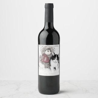 Rótulo De Garrafa De Cerveja Gatinho e ursinho