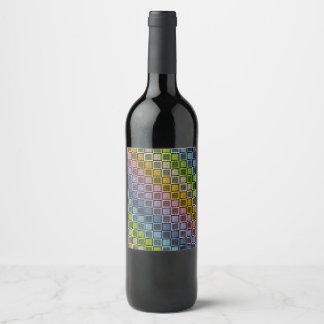 Rótulo De Garrafa De Cerveja O arco-íris Pastel estático esquadra o preto